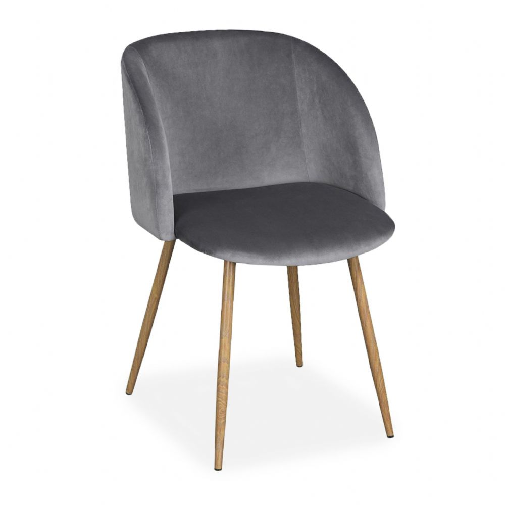 x2 Rosemary Tub Accent Armchair, Velvet Upholstered, Grey Seat & Beech Style Legs